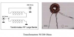 Transformateur 4-1 large bande pour mesures